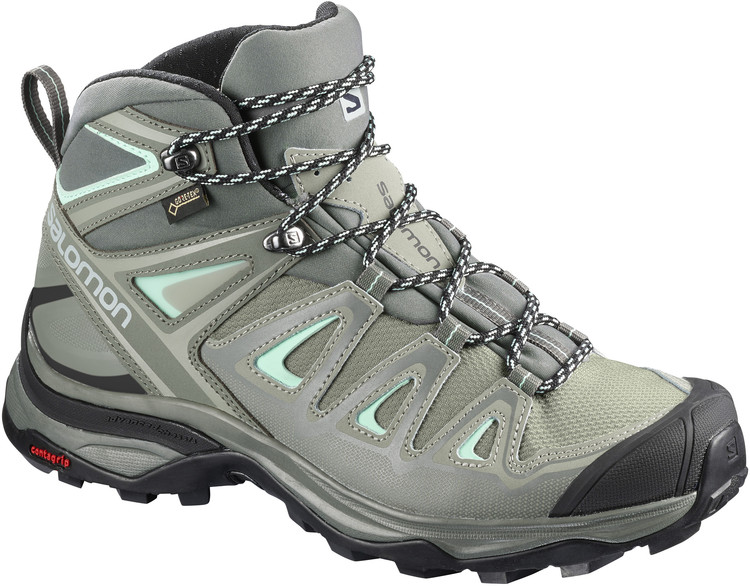 Damen Wanderschuhe X ULTRA 3 MID GTX, SHADOW/CASTOR GRAY/BEACH GLASS, 5.5
