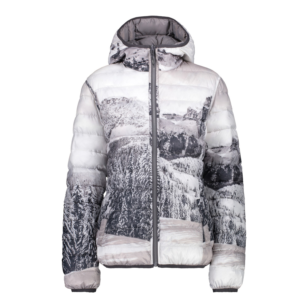 pretty nice 1ad70 19b32 Damen umkehrbare Jacke mit Motiv Daunenjacke Grau