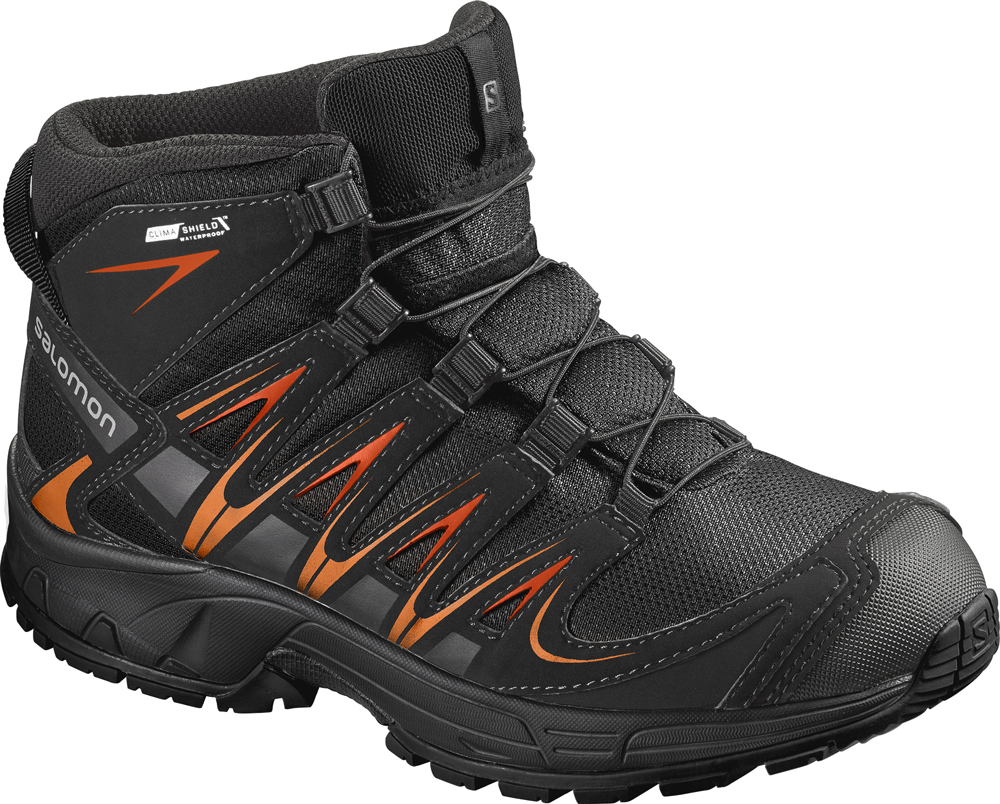 Kinder Schuhe XA PRO 3D MID CSWP J Bk/Bk, BLACK/BLACK/ORANGE RUST, 36