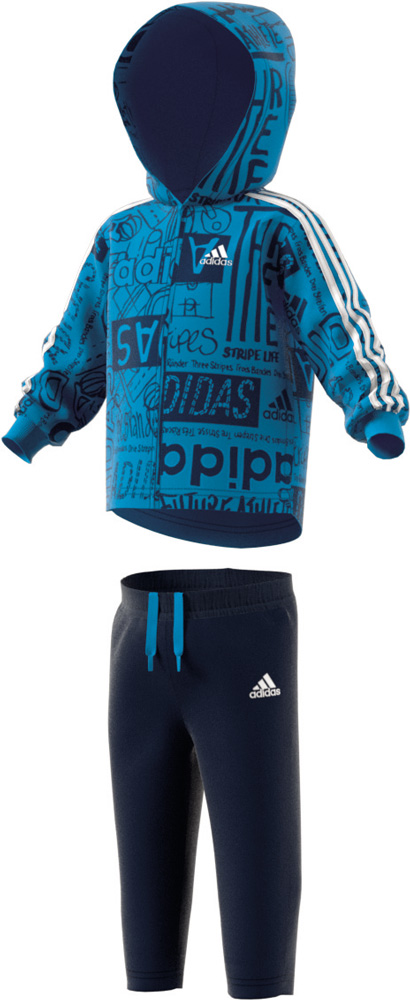 Graphic Hooded Jogger Anzug Kinder Blau