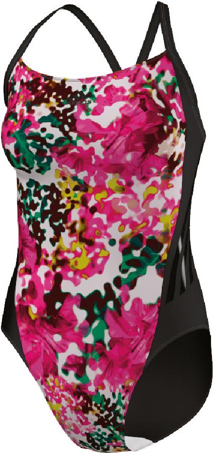 Damen 3S Graphic Badeanzug, BLACK/WHITE/SHOGRN/SO, 42
