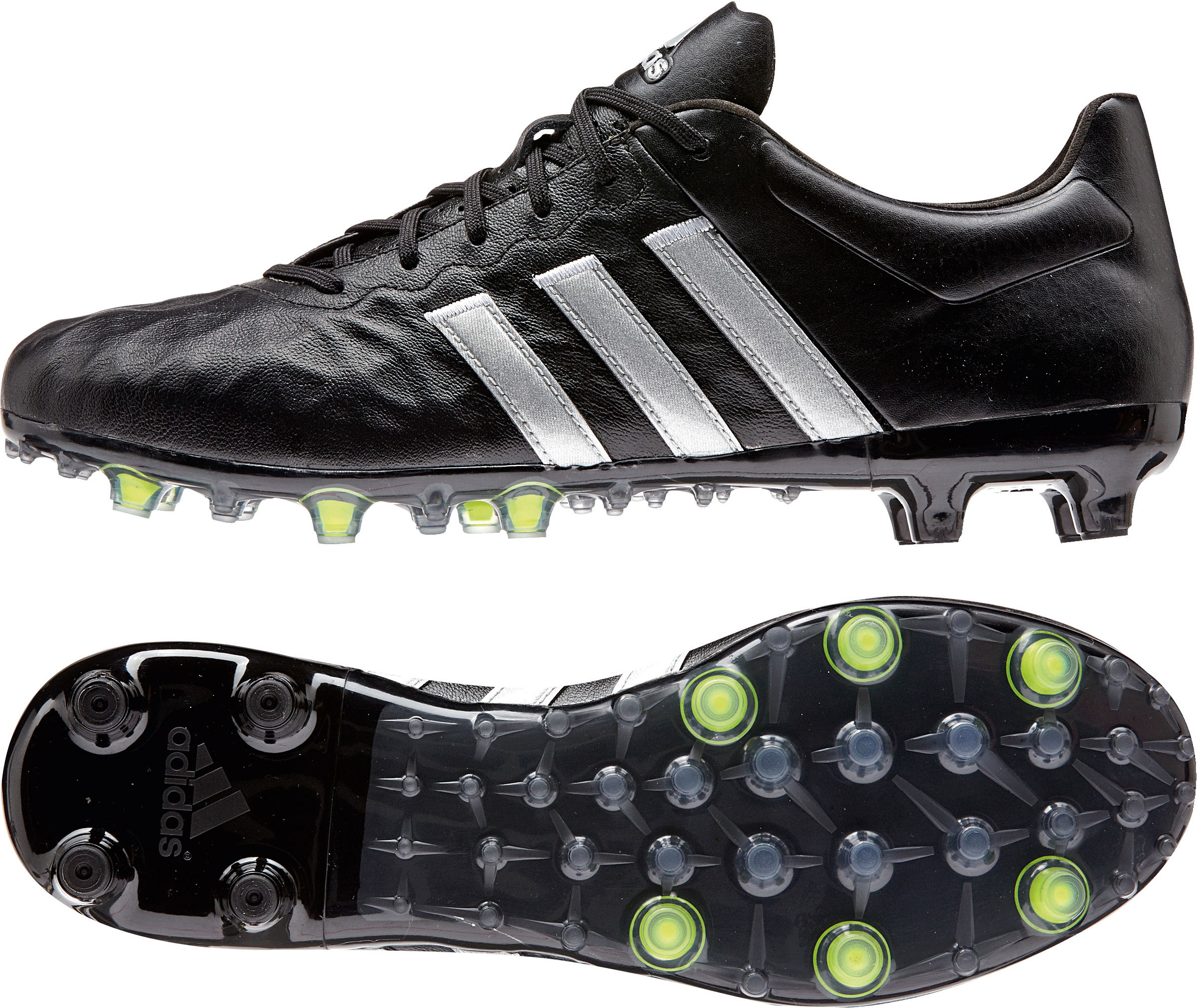 Herren Fußballschuh ACE 15.2 FG/AG Leather, CBLACK/SILVMT/SYELLO, 7,5
