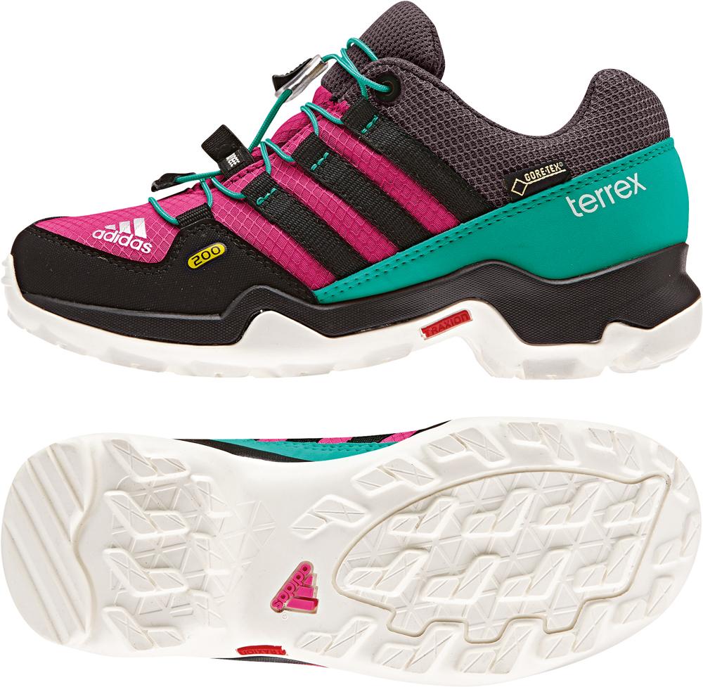 Kinder TERREX GTX Schuhe, BOPINK/CBLACK/SHKMIN, 4,5