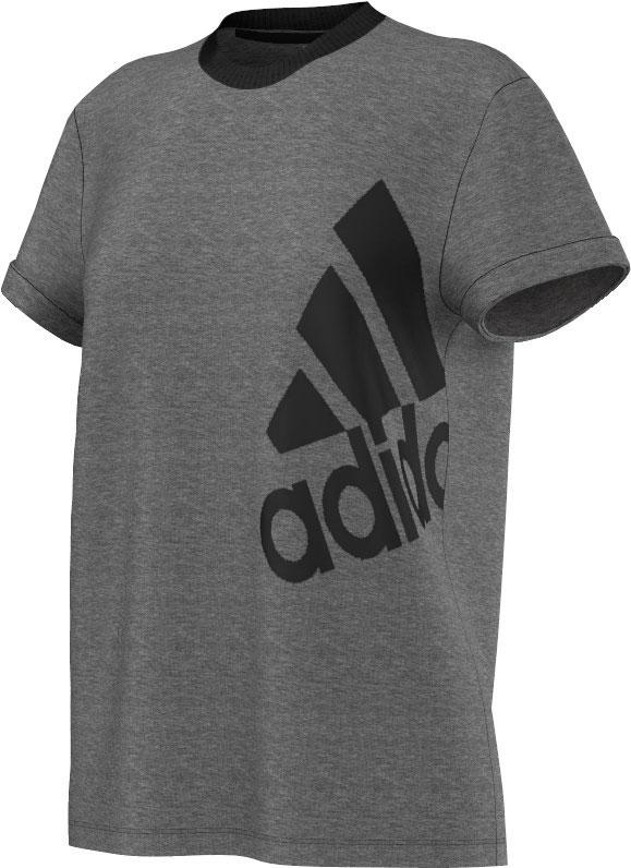 Damen Tshirt Essentials Logo, DGREYH/BLACK, S