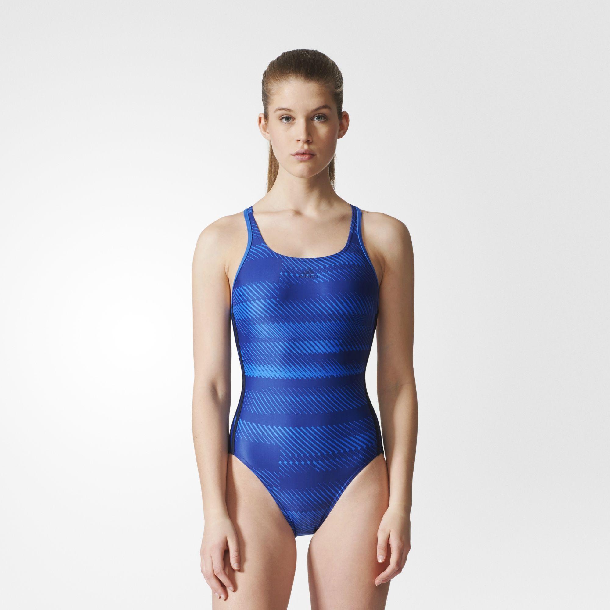 Damen 3-Streifen Graphic Badeanzug, ENEAQU/BLUE/LEGINK, 40