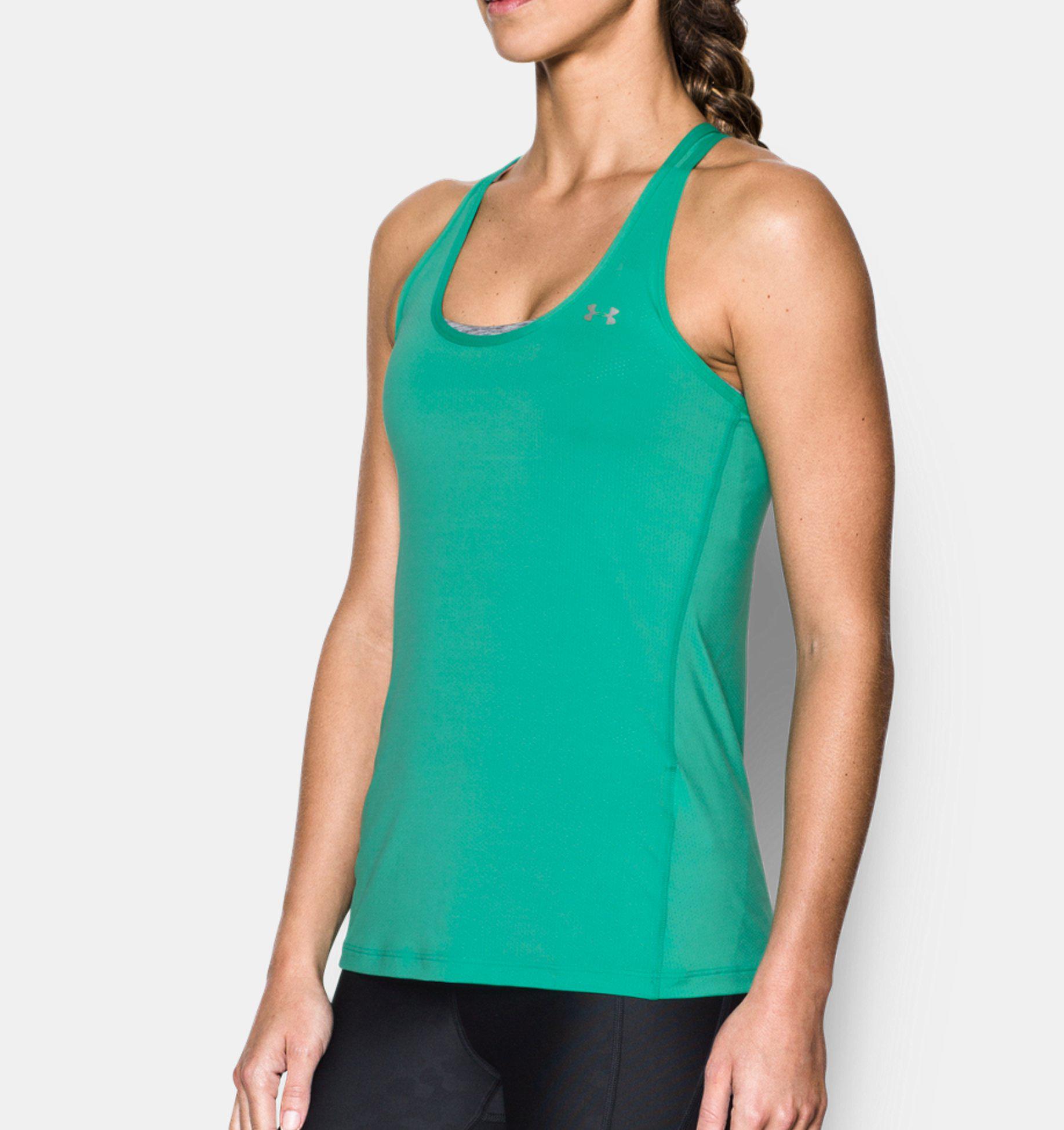 Damen Sport Shirt Tanktop UA HeatGear® Armour Racer, ABSINTHE GREEN   -, LG