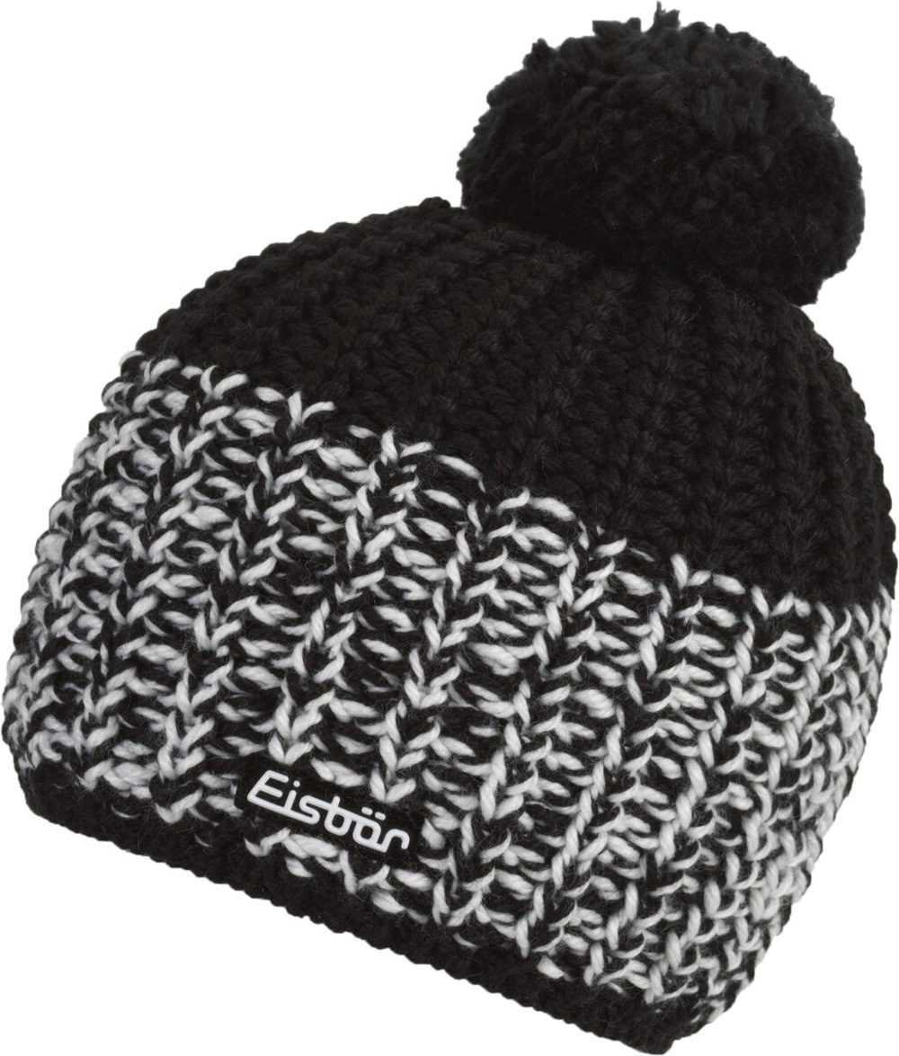 Mütze Focus Pompon MÜ Schwarz Weiß