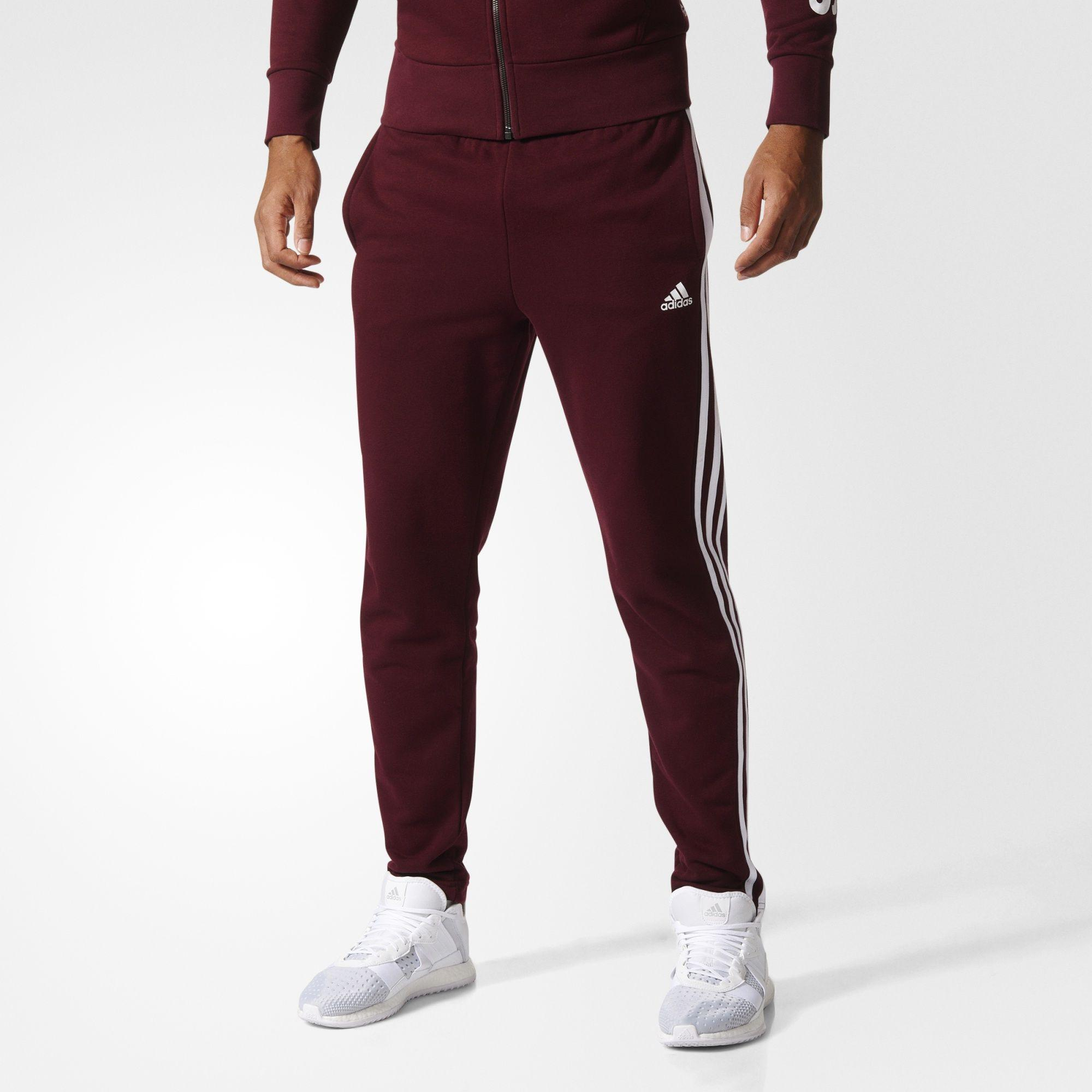 Herren Essentials 3-Streifen Hose, MAROON/WHITE, XL