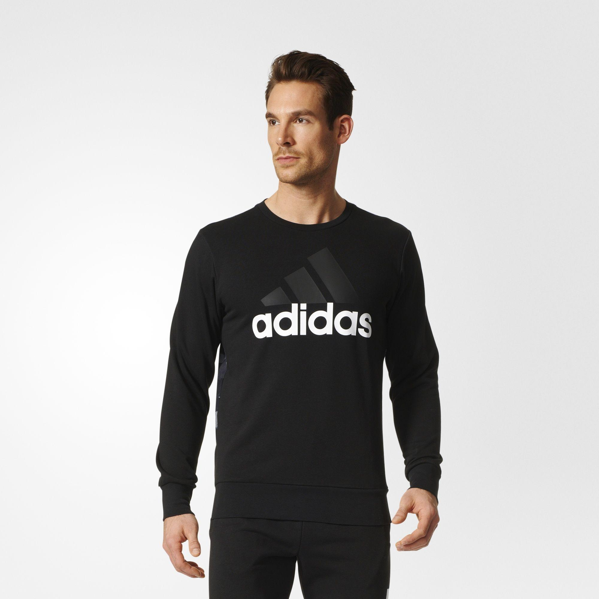 Herren Essentials Linear Sweatshirt, BLACK/BLACK, 2XL