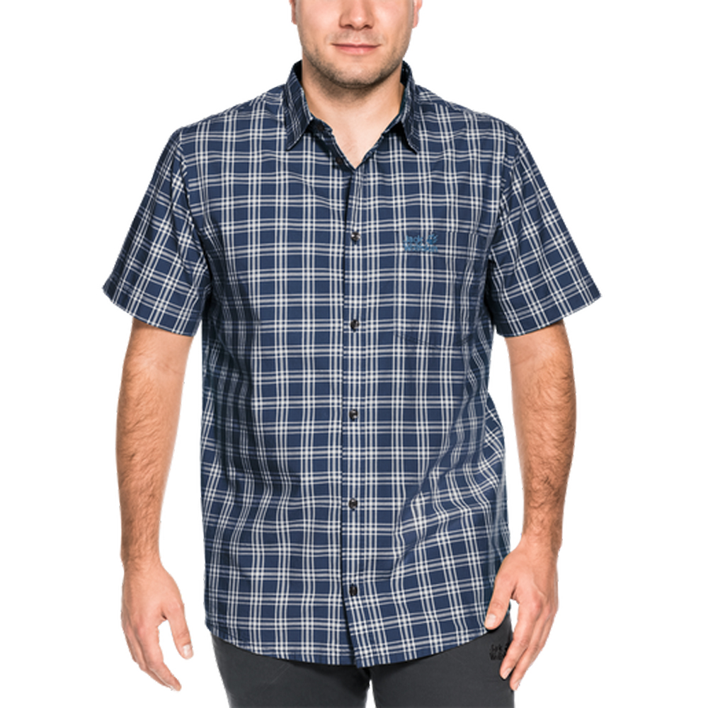Herren Hemd HOT SPRINGS SHIRT, night blue checks, 3XL