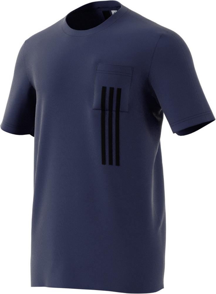 Herren T-Shirt ID 3 Stripes Pocket Tee, MYSBLU/BLACK, 2XL