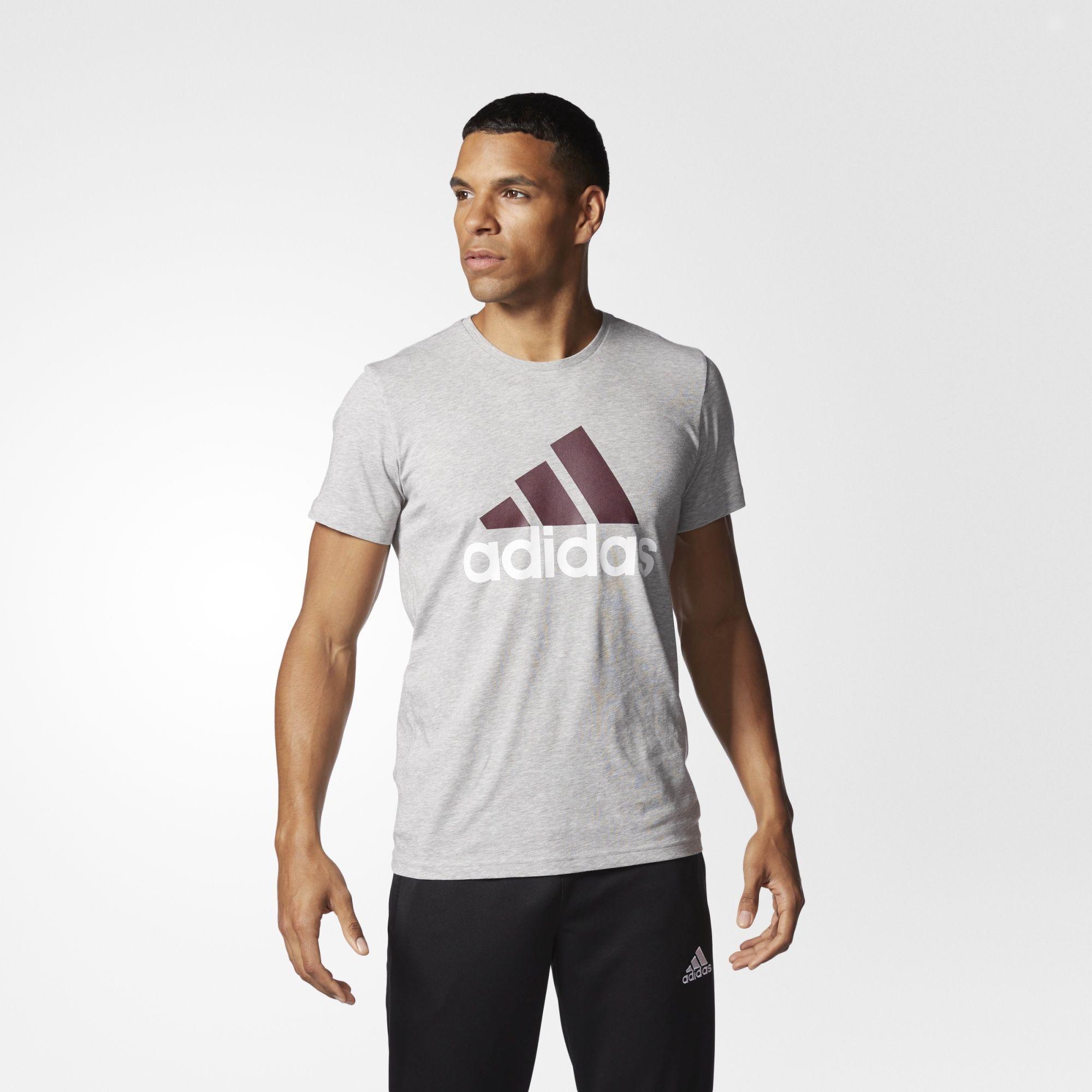 Herren Sport Essentials Logo T-Shirt, MGREYH/MAROON/WHITE, XL