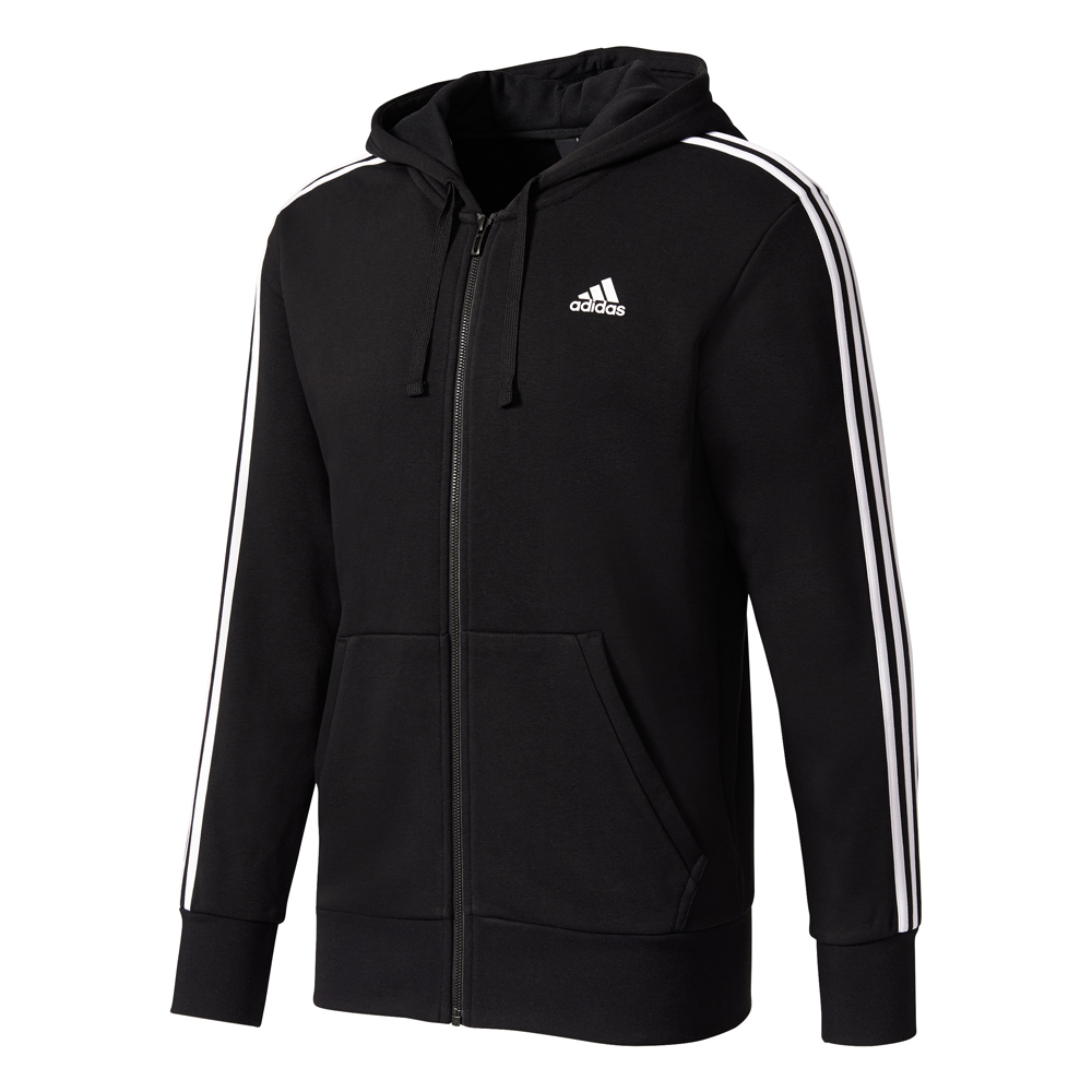 Herren Jacke Essentials 3 Stripes Full-Zip Hood French Terry, BLACK/WHITE, L