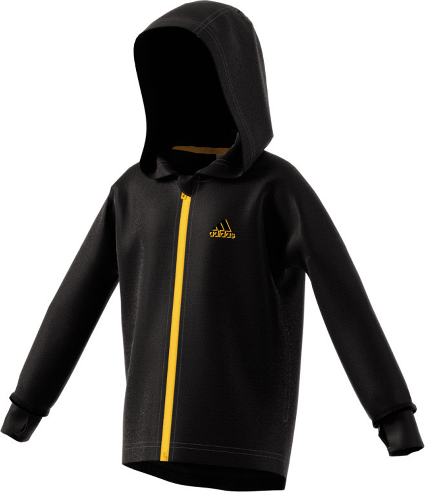Kinder Jacke Training Full Zip Hoodie, BLACK/SOGOLD, 104