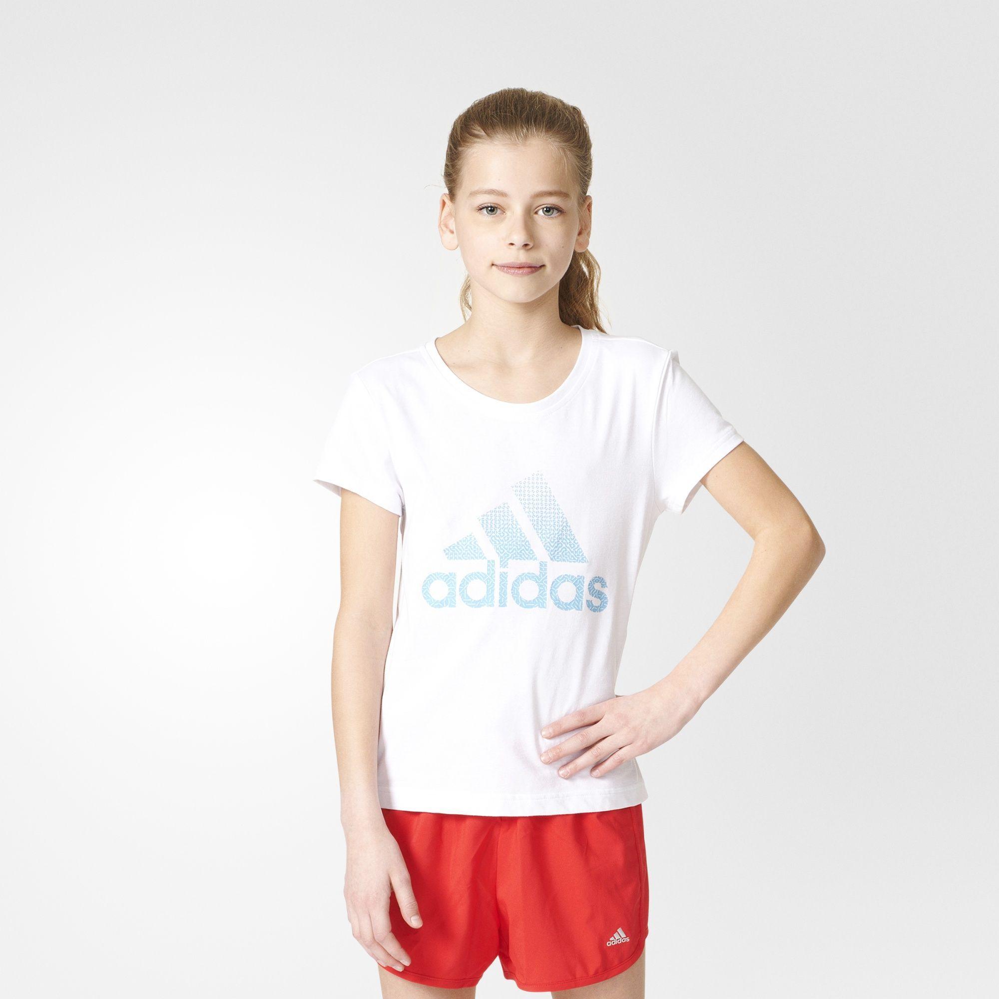 Kinder Performance Logo T-Shirt, WHITE/BOBLUE, 128