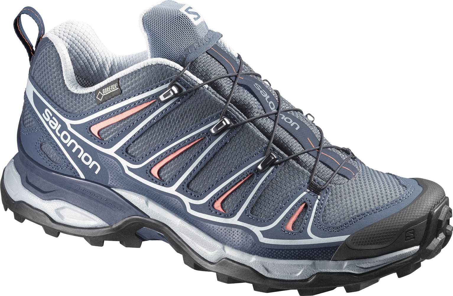Damen  Wanderschuhe X Ultra II GTX W, GREY DENIM/Deep Blue/MELON BLOOM, 5.5