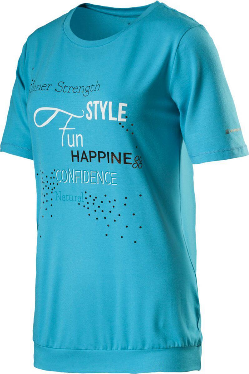 Damen T-Shirt Cara Fitness Trainingsshirt, EGRET/MULTICOLOUR, 48