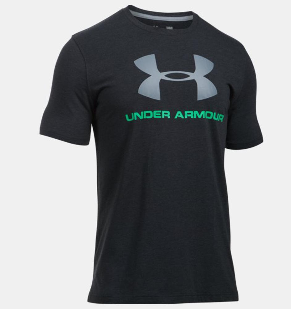 Herren T-Shirt UA Sportstyle mit Logo, BLACK   VAPOR GREEN, LG